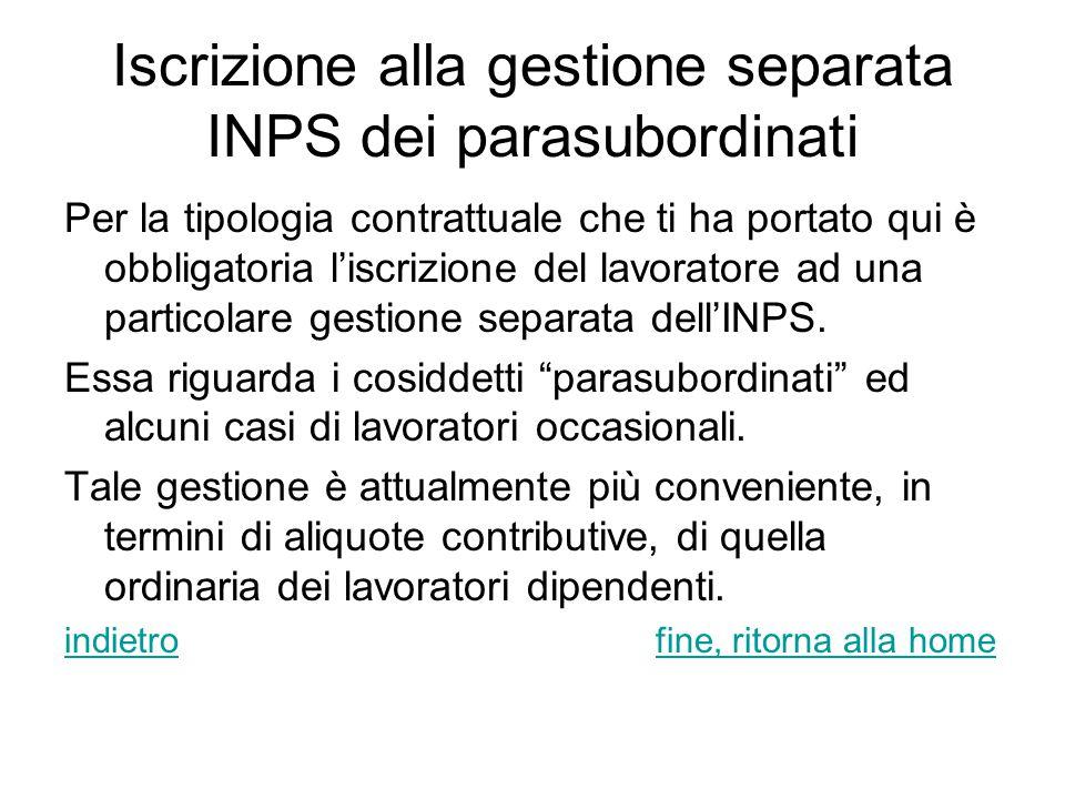 Iscrizione alla gestione separata INPS dei parasubordinati