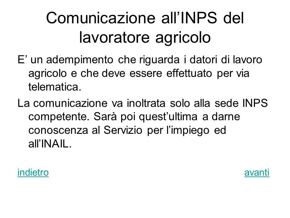 Comunicazione all'INPS del lavoratore agricolo