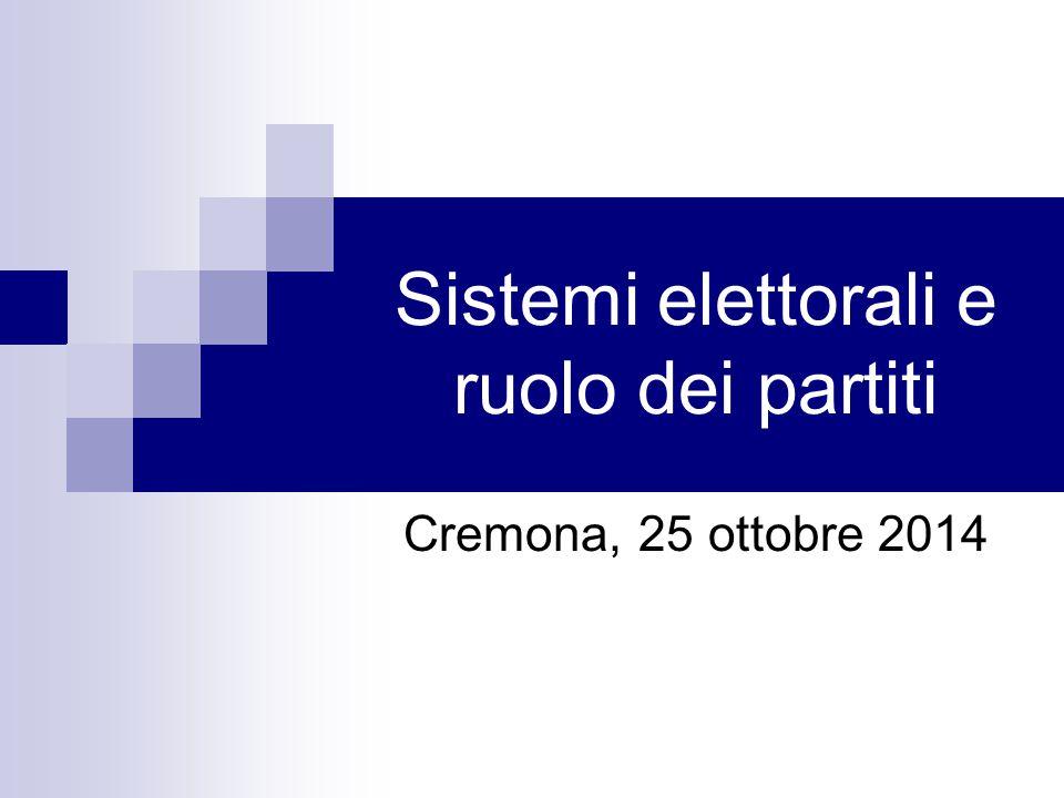 Sistemi elettorali e ruolo dei partiti