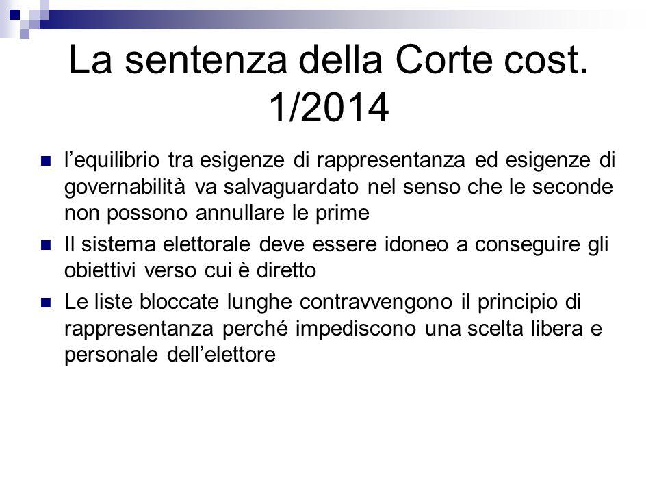 La sentenza della Corte cost. 1/2014
