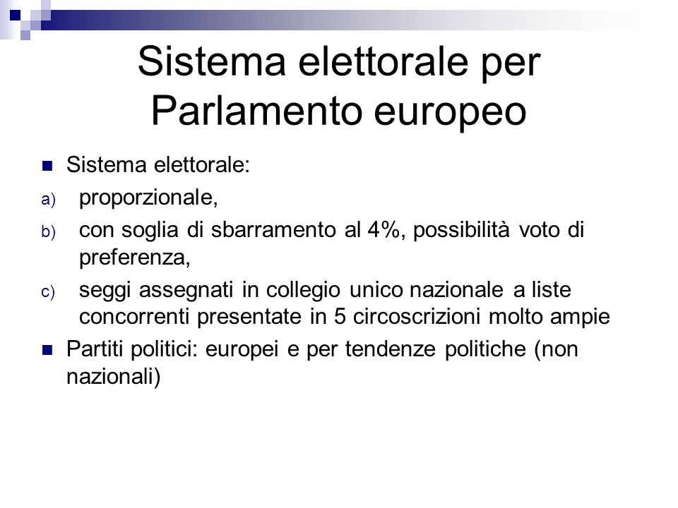 Sistema elettorale per Parlamento europeo