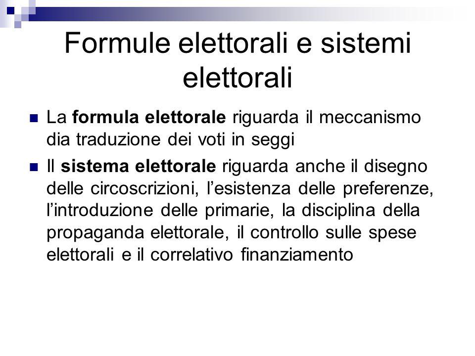 Formule elettorali e sistemi elettorali