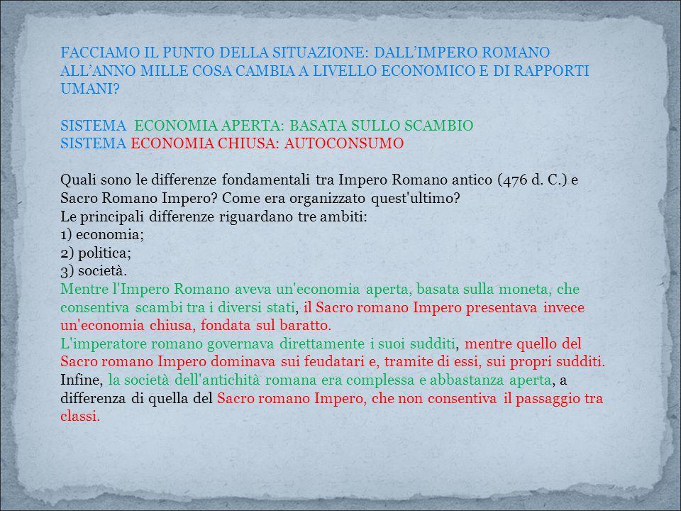 FACCIAMO IL PUNTO DELLA SITUAZIONE: DALL'IMPERO ROMANO ALL'ANNO MILLE COSA CAMBIA A LIVELLO ECONOMICO E DI RAPPORTI UMANI