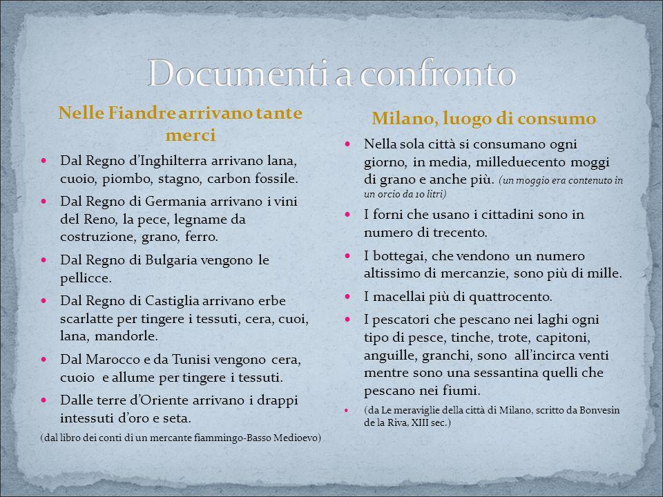 Nelle Fiandre arrivano tante merci Milano, luogo di consumo