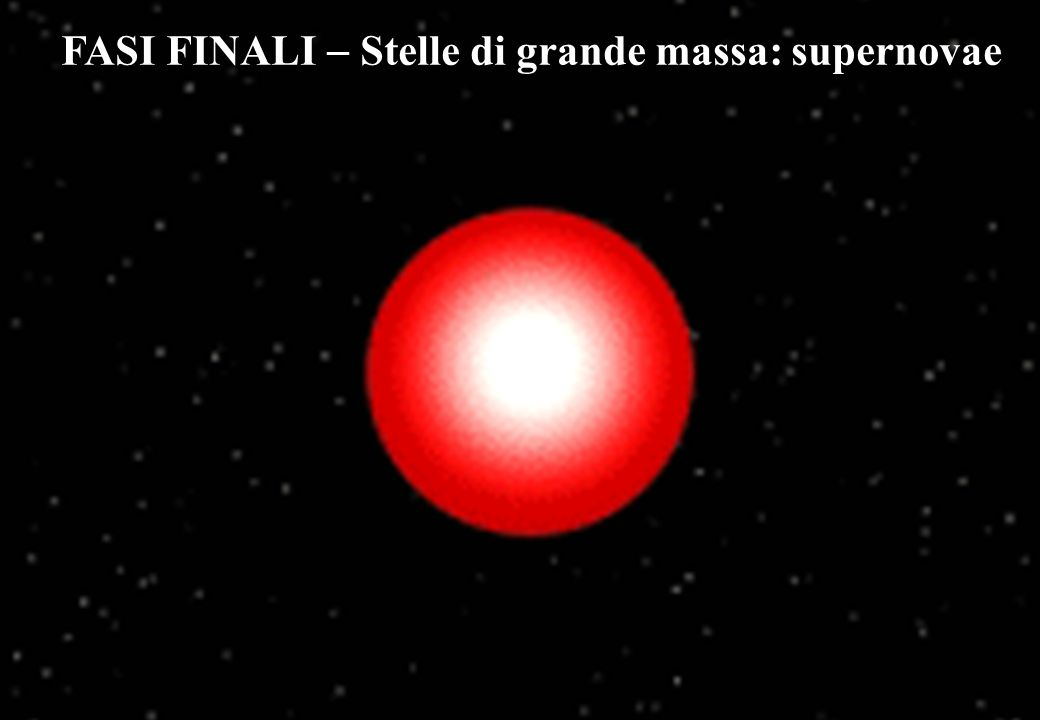 FASI FINALI  Stelle di grande massa: supernovae