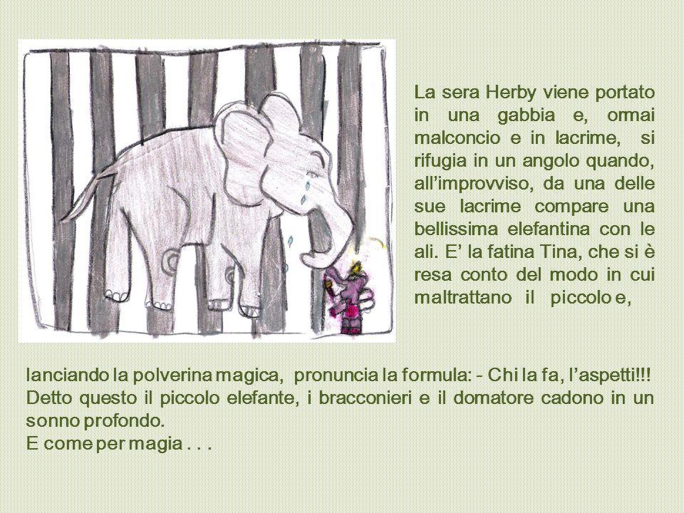 La sera Herby viene portato in una gabbia e, ormai malconcio e in lacrime, si rifugia in un angolo quando, all'improvviso, da una delle sue lacrime compare una bellissima elefantina con le ali. E' la fatina Tina, che si è resa conto del modo in cui maltrattano il piccolo e,