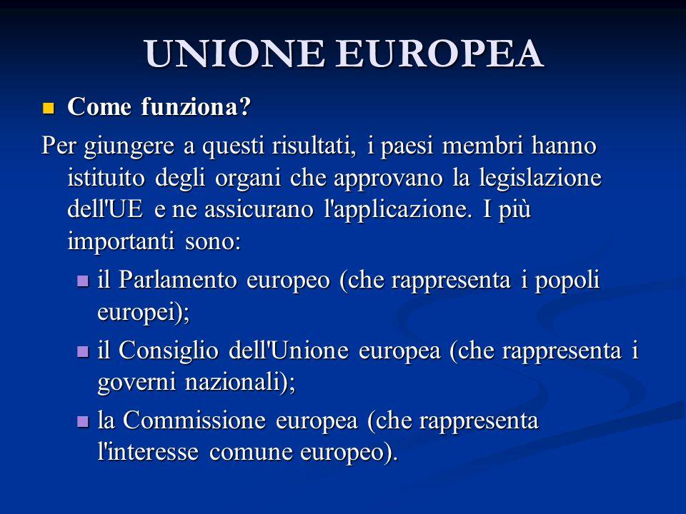 UNIONE EUROPEA Come funziona