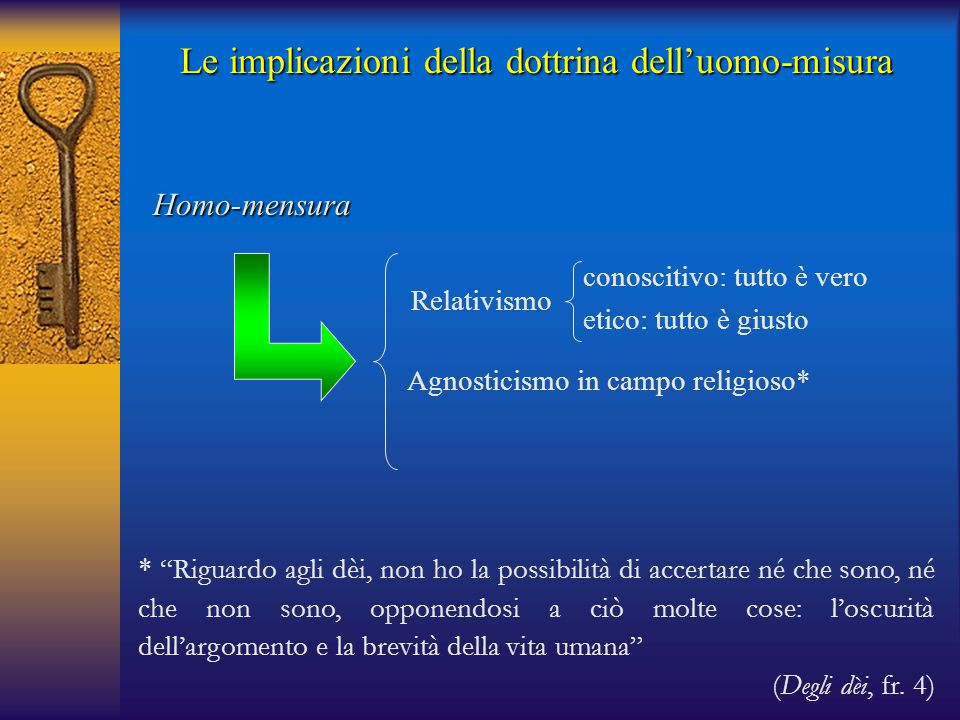 Le implicazioni della dottrina dell'uomo-misura