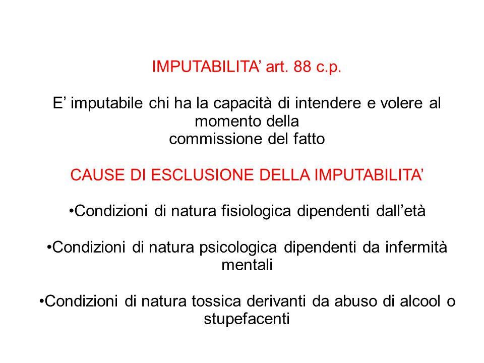 CAUSE DI ESCLUSIONE DELLA IMPUTABILITA'