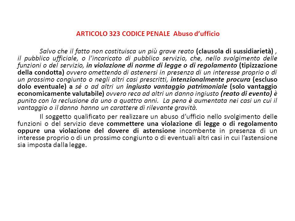 ARTICOLO 323 CODICE PENALE Abuso d'ufficio