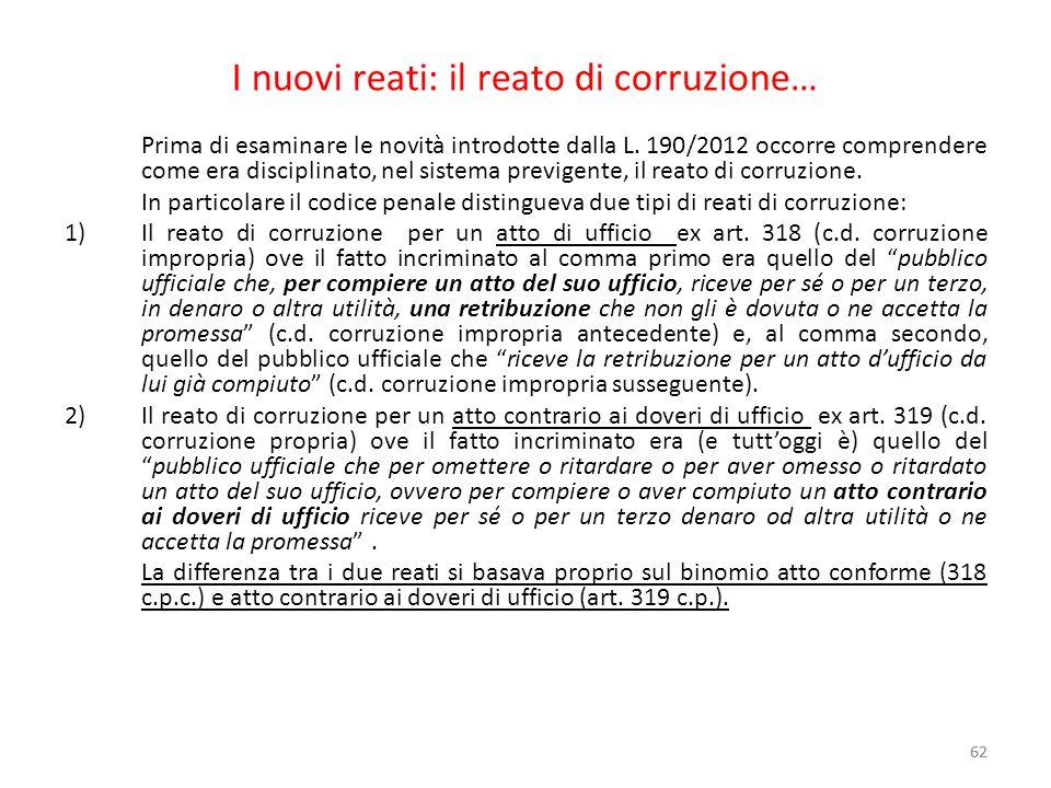 I nuovi reati: il reato di corruzione…