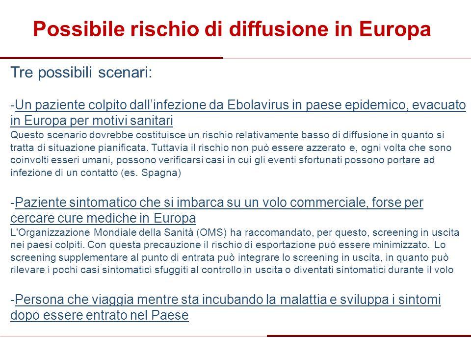 Possibile rischio di diffusione in Europa