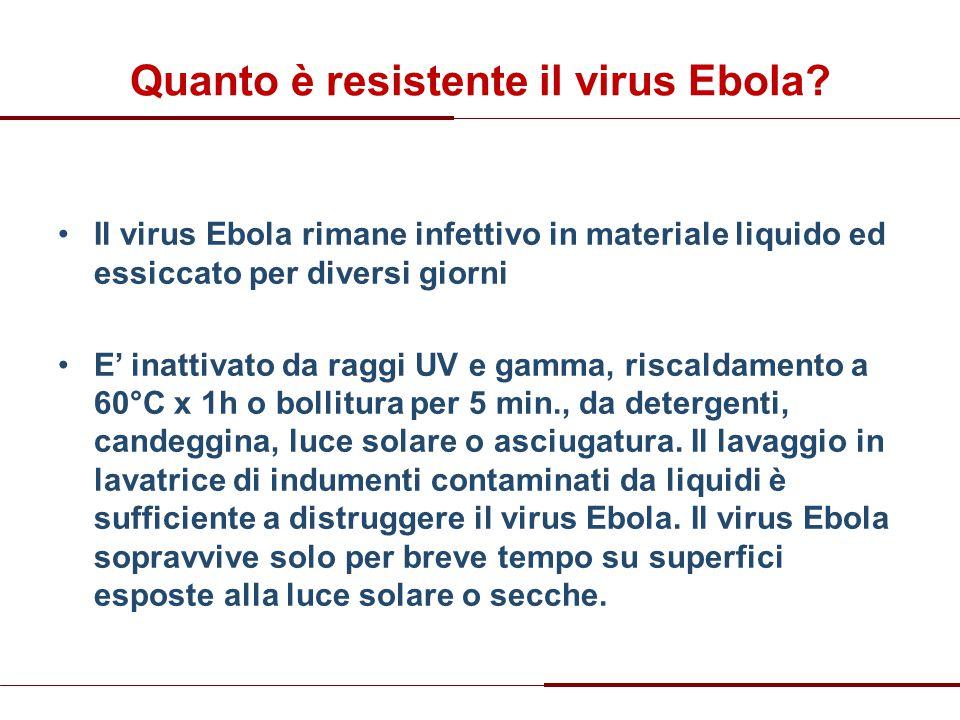 Quanto è resistente il virus Ebola