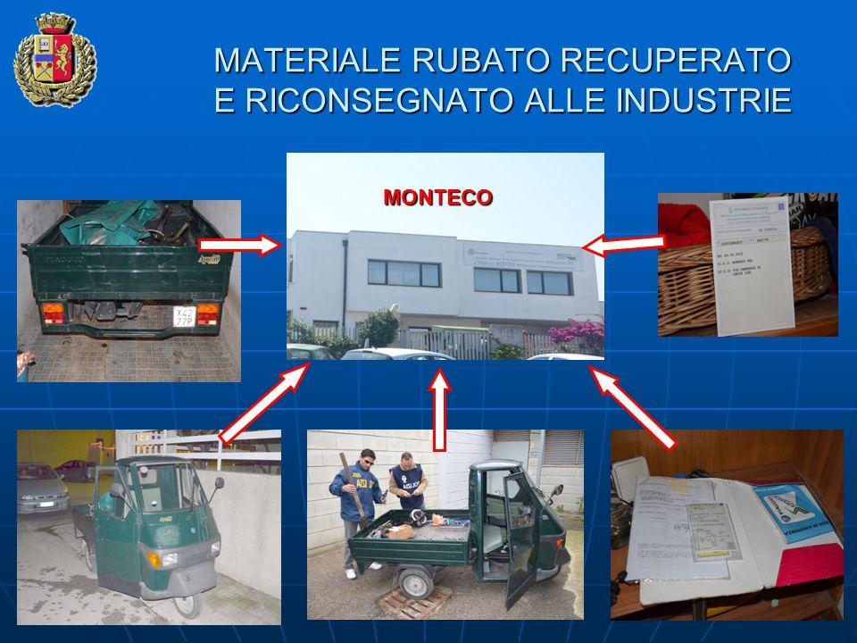 MATERIALE RUBATO RECUPERATO E RICONSEGNATO ALLE INDUSTRIE