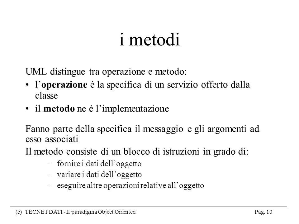i metodi UML distingue tra operazione e metodo: