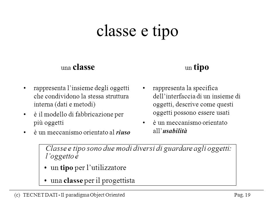 Classe e tipo sono due modi diversi di guardare agli oggetti: