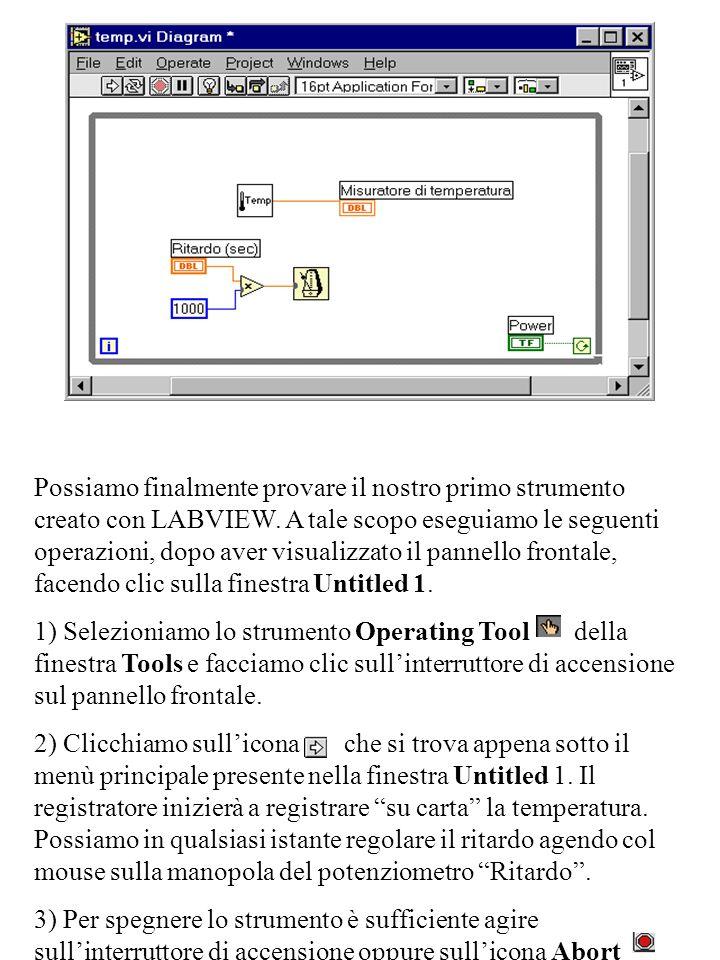 Possiamo finalmente provare il nostro primo strumento creato con LABVIEW. A tale scopo eseguiamo le seguenti operazioni, dopo aver visualizzato il pannello frontale, facendo clic sulla finestra Untitled 1.