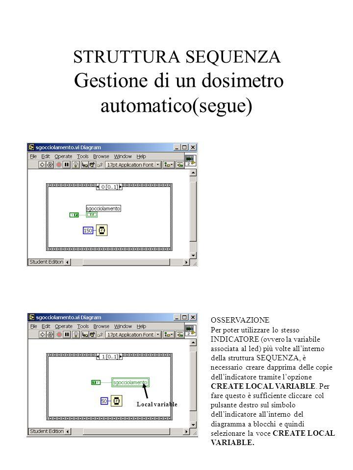 STRUTTURA SEQUENZA Gestione di un dosimetro automatico(segue)