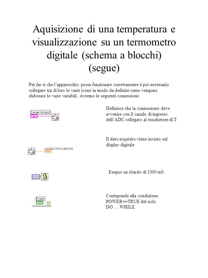 Aquisizione di una temperatura e visualizzazione su un termometro digitale (schema a blocchi) (segue)