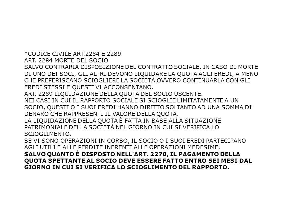 *CODICE CIVILE ART.2284 E 2289 ART. 2284 MORTE DEL SOCIO.