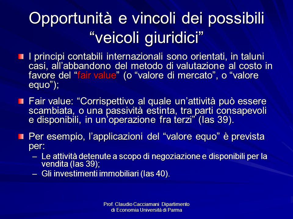 Opportunità e vincoli dei possibili veicoli giuridici