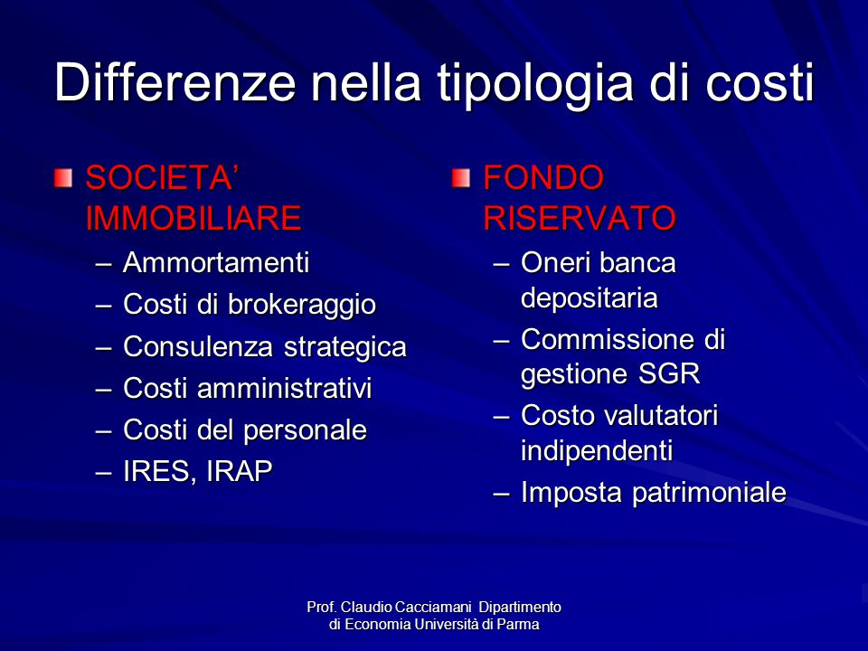 Differenze nella tipologia di costi