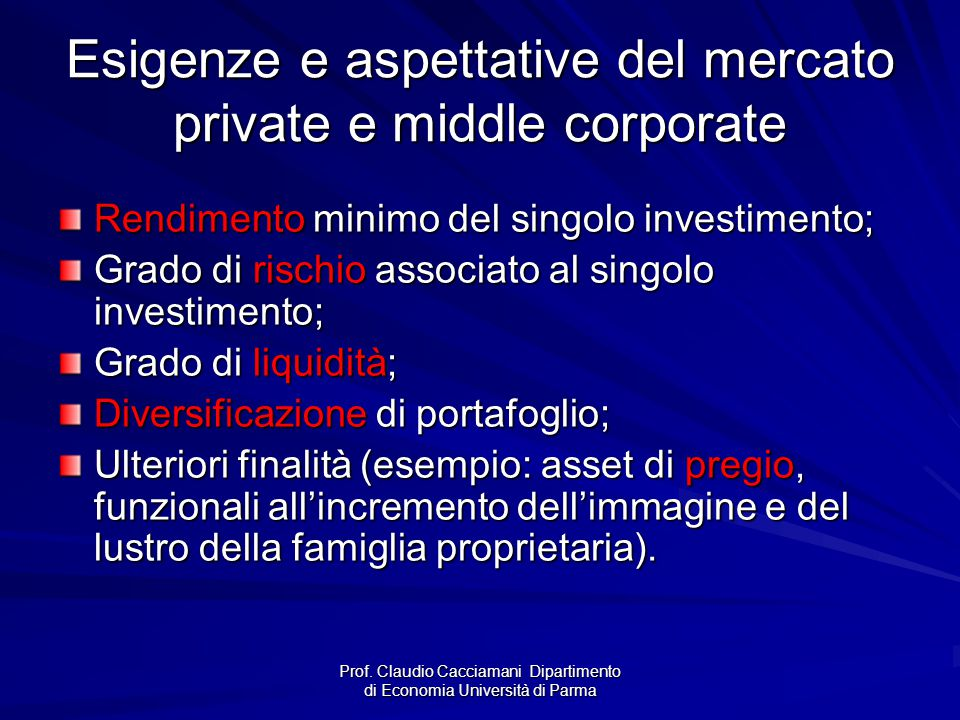 Esigenze e aspettative del mercato private e middle corporate