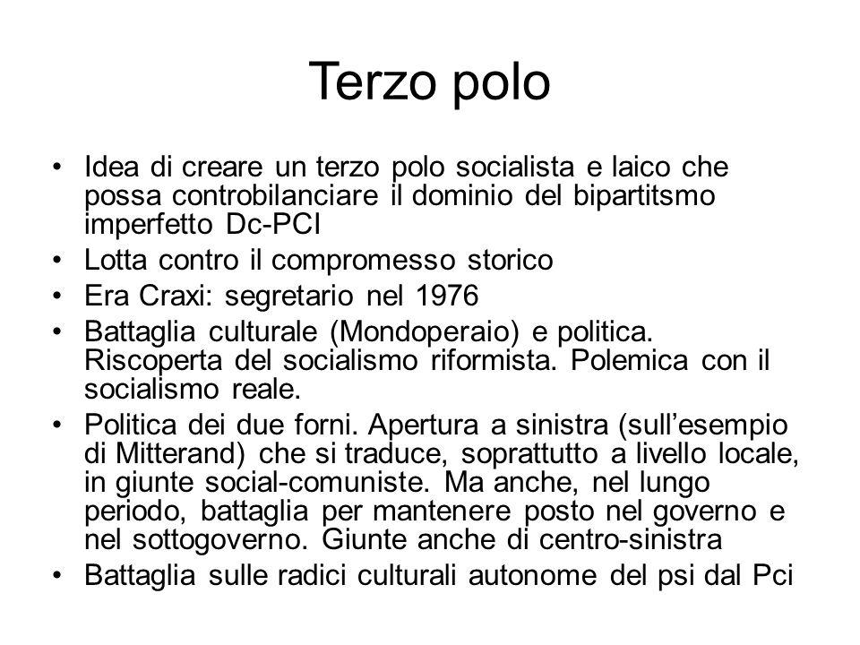 Terzo polo Idea di creare un terzo polo socialista e laico che possa controbilanciare il dominio del bipartitsmo imperfetto Dc-PCI.