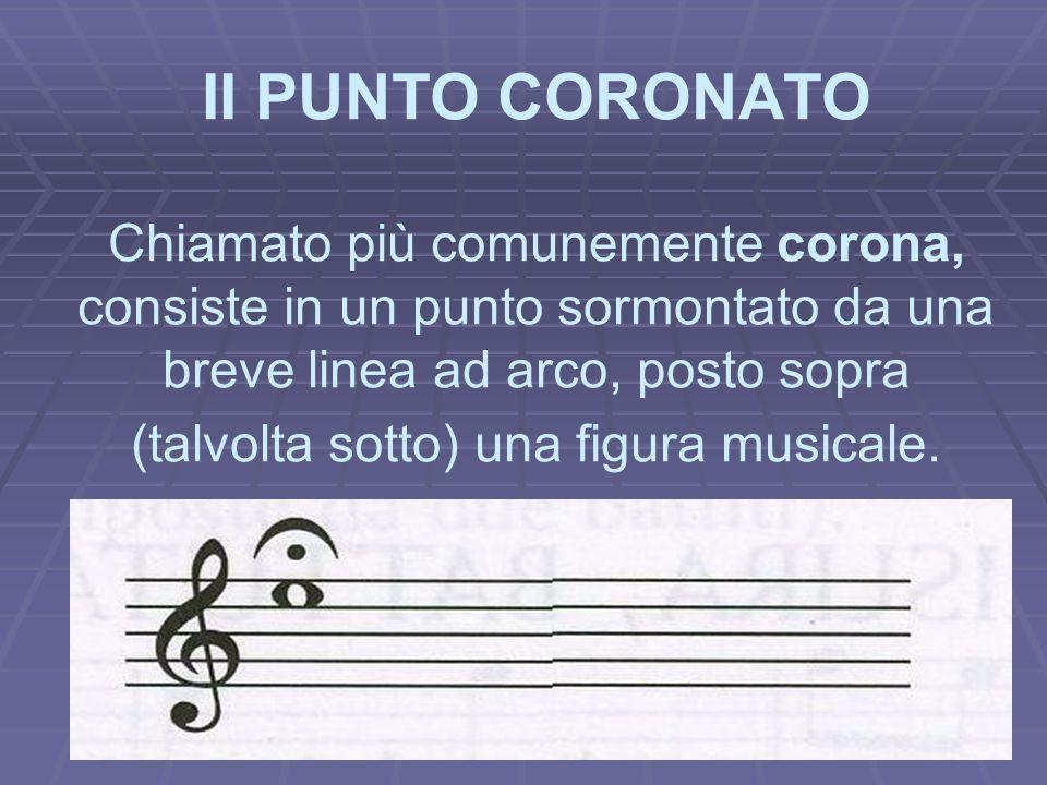 II PUNTO CORONATO Chiamato più comunemente corona, consiste in un punto sormontato da una breve linea ad arco, posto sopra (talvolta sotto) una figura musicale.