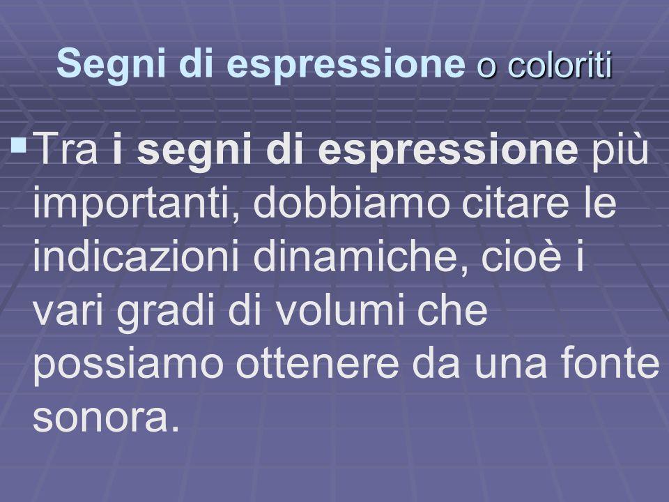 Segni di espressione o coloriti