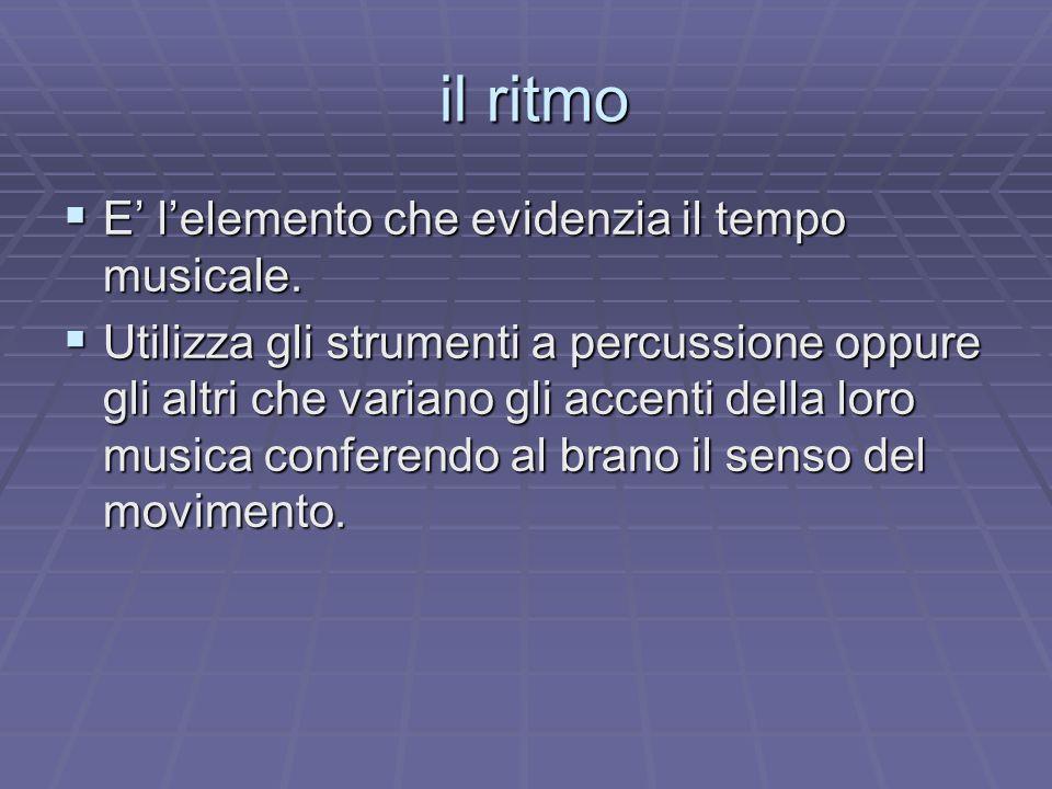il ritmo E' l'elemento che evidenzia il tempo musicale.