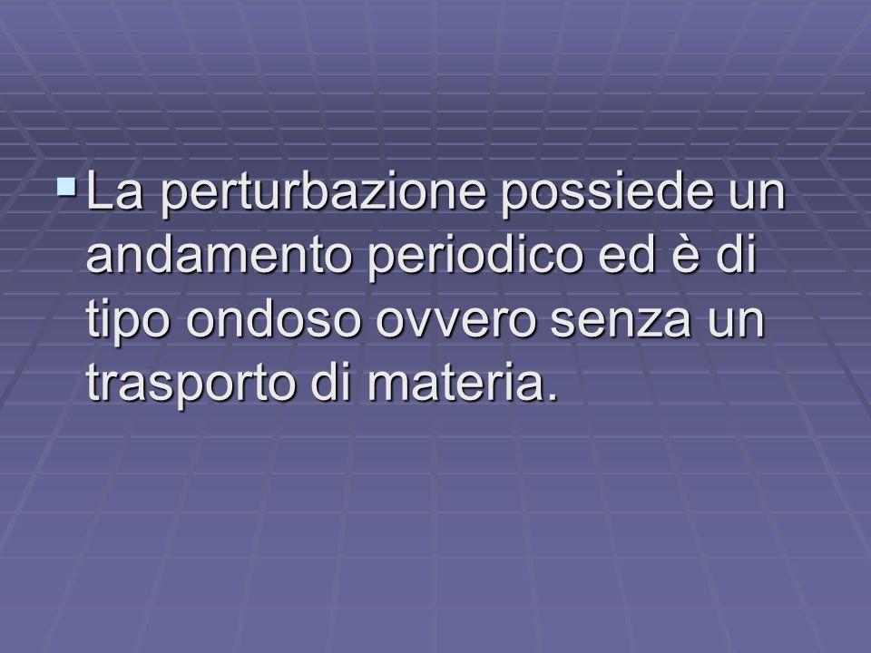 La perturbazione possiede un andamento periodico ed è di tipo ondoso ovvero senza un trasporto di materia.