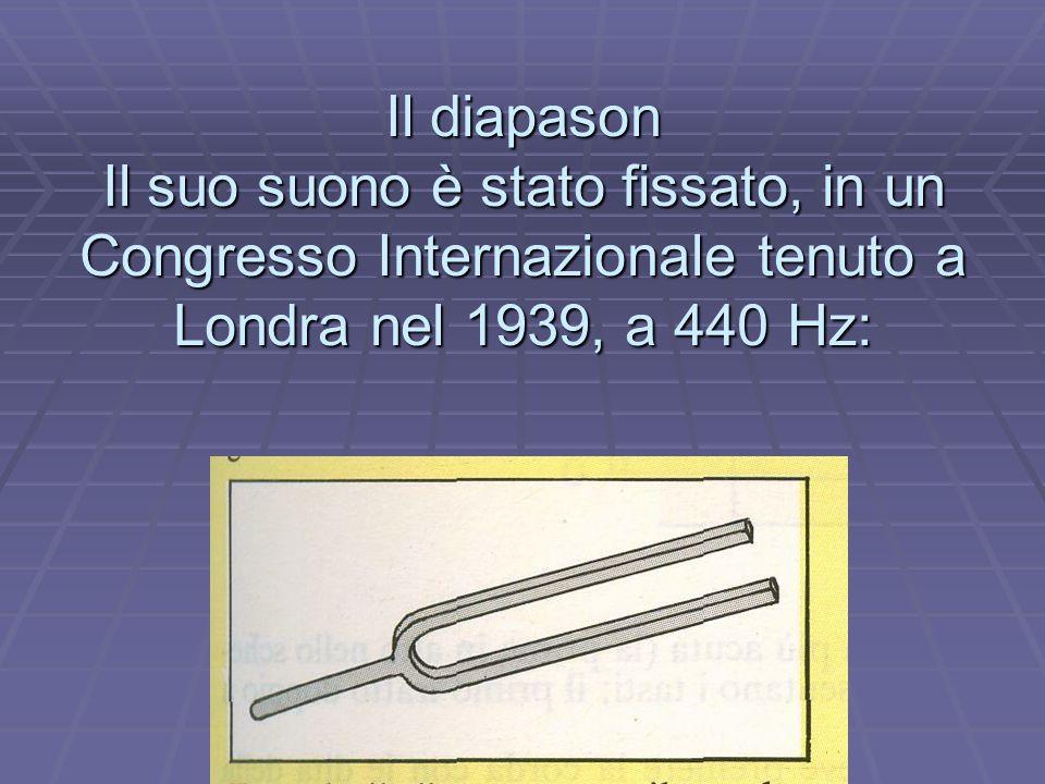 Il diapason Il suo suono è stato fissato, in un Congresso Internazionale tenuto a Londra nel 1939, a 440 Hz: