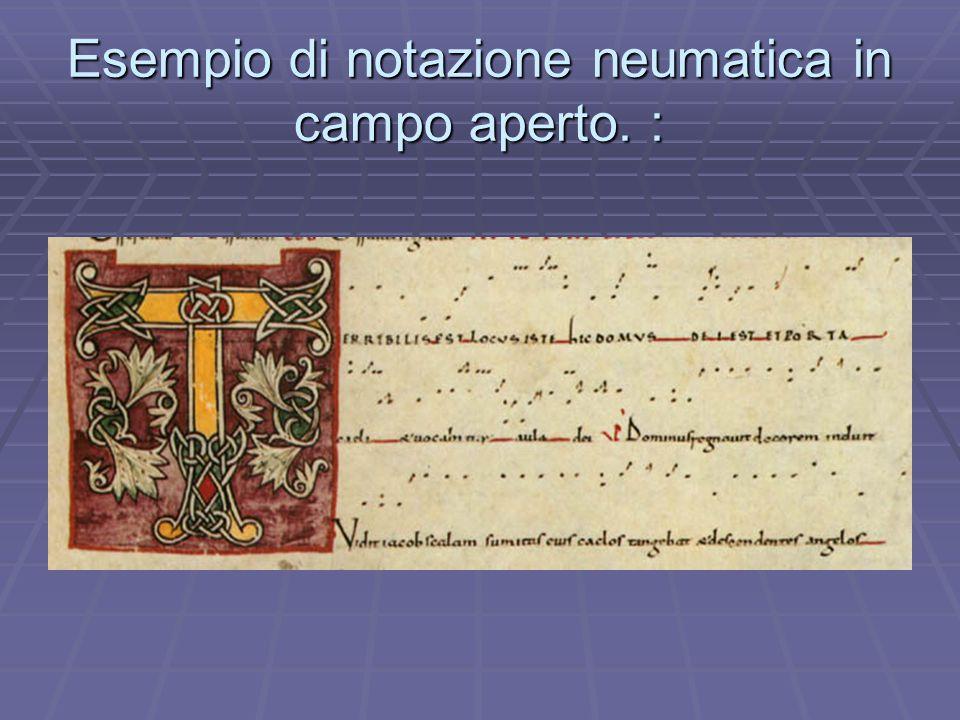 Esempio di notazione neumatica in campo aperto. :