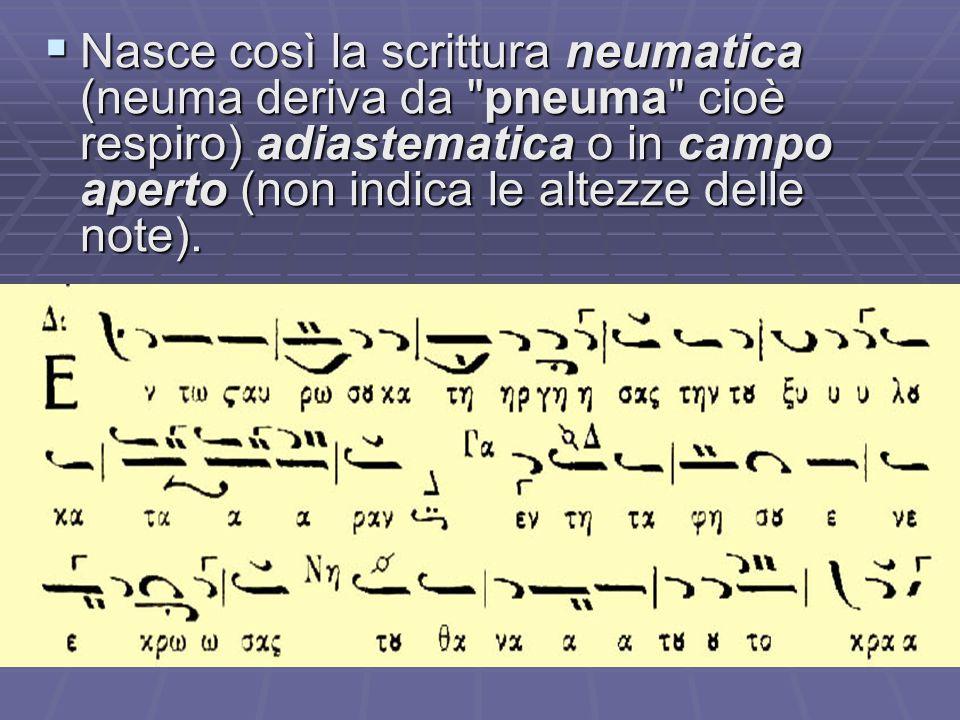 Nasce così la scrittura neumatica (neuma deriva da pneuma cioè respiro) adiastematica o in campo aperto (non indica le altezze delle note).