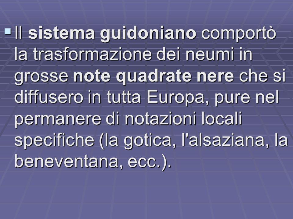 Il sistema guidoniano comportò la trasformazione dei neumi in grosse note quadrate nere che si diffusero in tutta Europa, pure nel permanere di notazioni locali specifiche (la gotica, l alsaziana, la beneventana, ecc.).