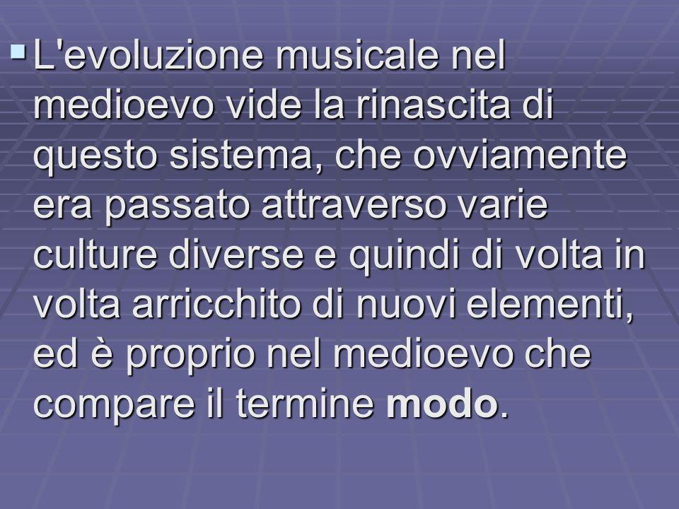 L evoluzione musicale nel medioevo vide la rinascita di questo sistema, che ovviamente era passato attraverso varie culture diverse e quindi di volta in volta arricchito di nuovi elementi, ed è proprio nel medioevo che compare il termine modo.