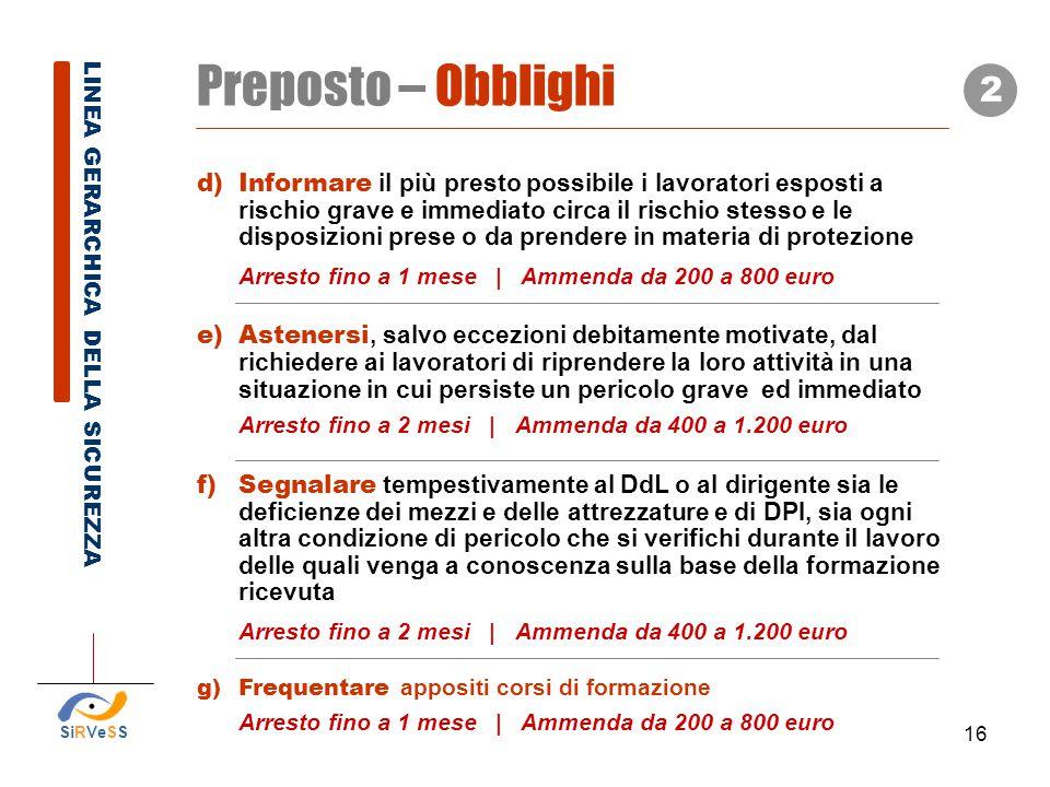 Preposto – Obblighi 2.