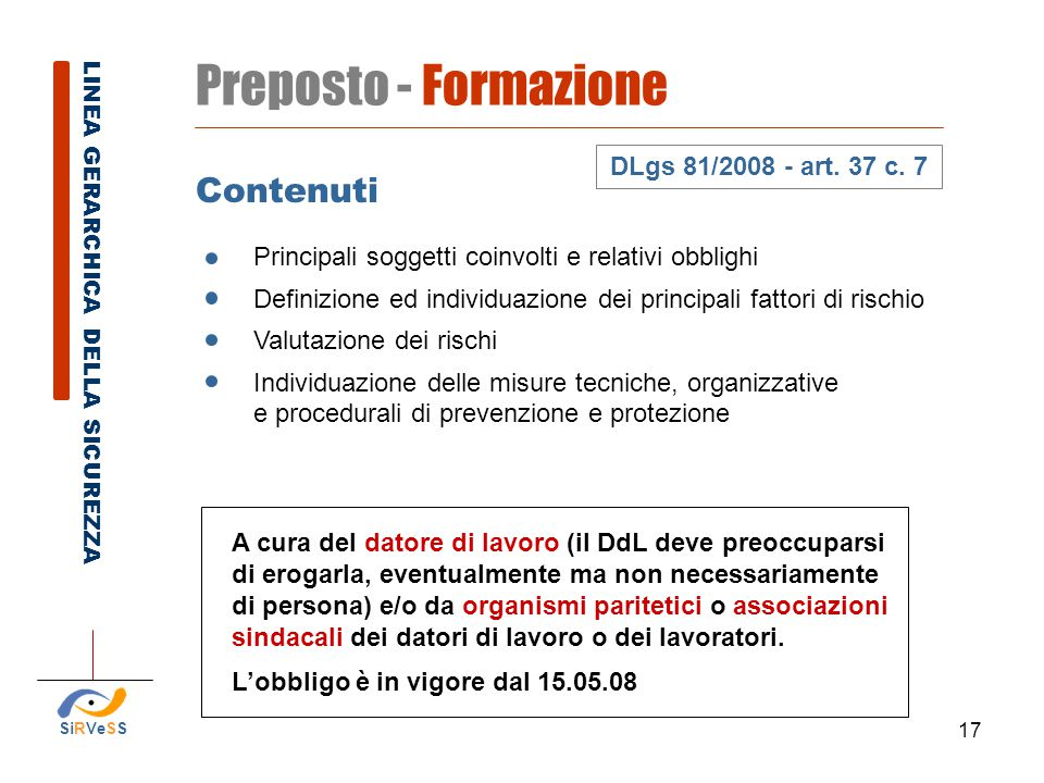 Preposto - Formazione Contenuti DLgs 81/2008 - art. 37 c. 7