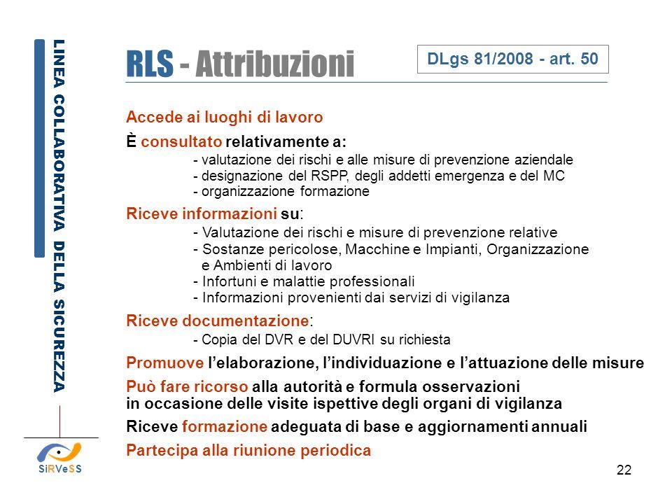 RLS - Attribuzioni DLgs 81/2008 - art. 50
