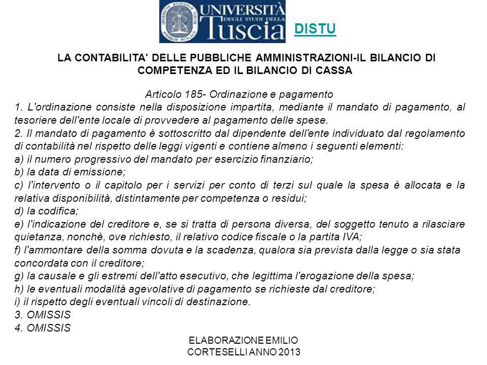 DISTU LA CONTABILITA DELLE PUBBLICHE AMMINISTRAZIONI-IL BILANCIO DI COMPETENZA ED IL BILANCIO DI CASSA.