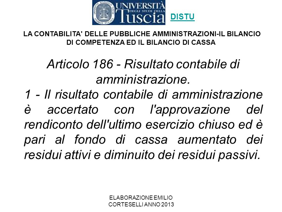 Articolo 186 - Risultato contabile di amministrazione.