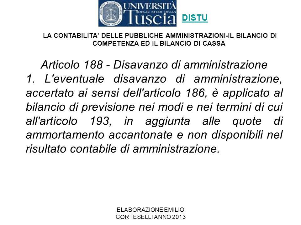 Articolo 188 - Disavanzo di amministrazione
