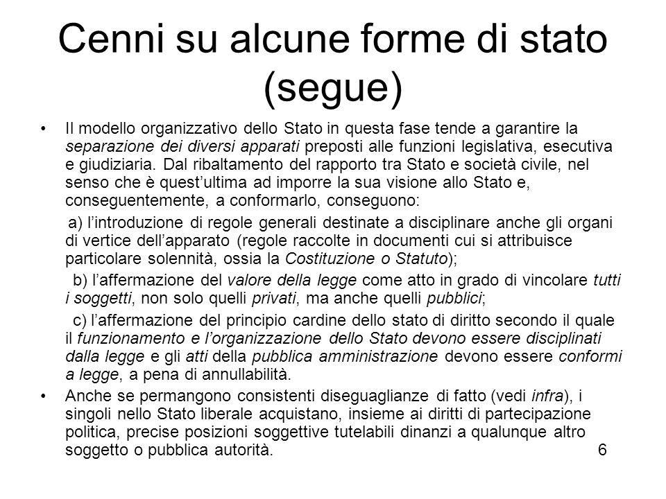 Cenni su alcune forme di stato (segue)