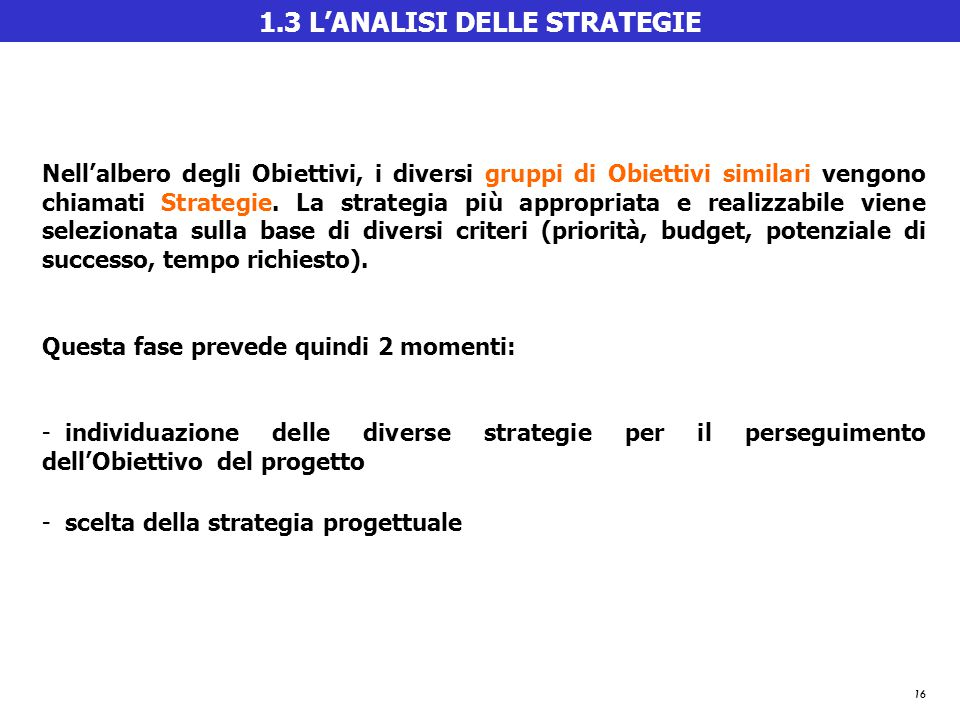 1.3 L'ANALISI DELLE STRATEGIE