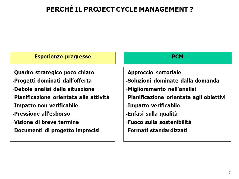 PERCHÉ IL PROJECT CYCLE MANAGEMENT