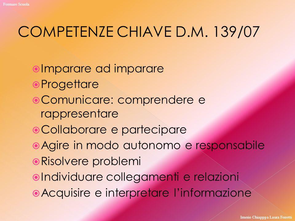 COMPETENZE CHIAVE D.M. 139/07 Imparare ad imparare Progettare