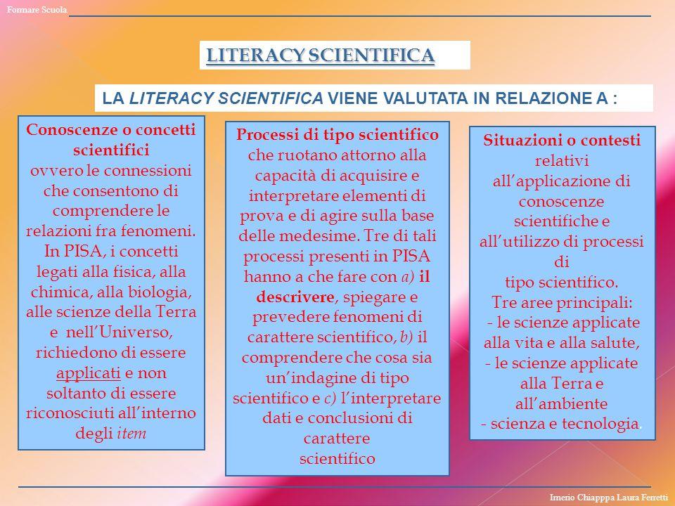 Formare Scuola LITERACY SCIENTIFICA. LA LITERACY SCIENTIFICA VIENE VALUTATA IN RELAZIONE A : Conoscenze o concetti scientifici.
