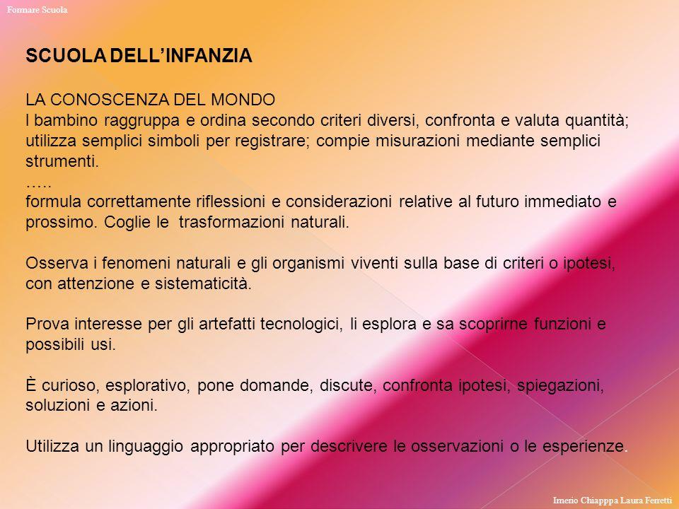 SCUOLA DELL'INFANZIA LA CONOSCENZA DEL MONDO