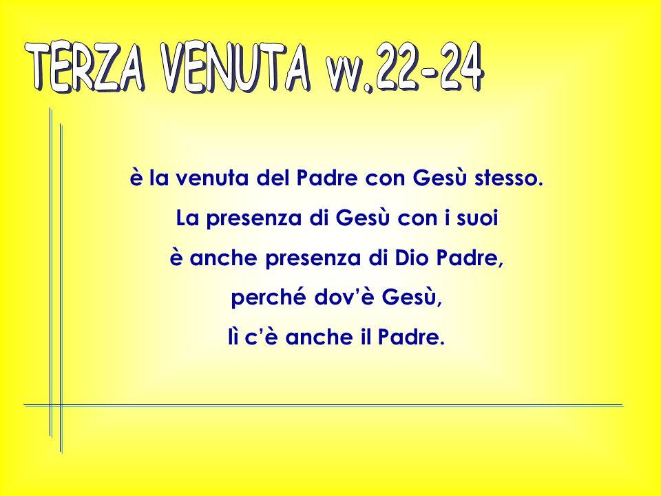 TERZA VENUTA vv.22-24 è la venuta del Padre con Gesù stesso.